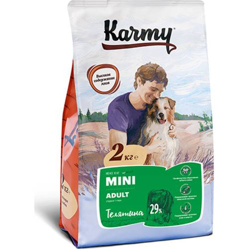 Karmy Mini Adult телятина Полнорационный сухой корм для собак мелких пород в возрасте старше 1 года 2 кг.